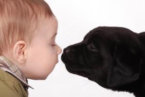 ein Kind mit einem Hund